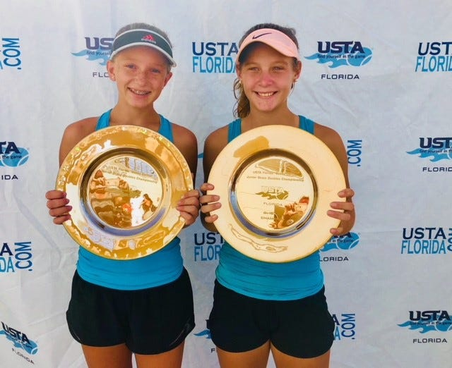 Pensacola's Gabriella Goyins, left, along with her doubles partner Mary Boyce Deathridge of Maitland, won the USTA Florida Bobby Curtis State Junior Championships last weekend in Orlando.