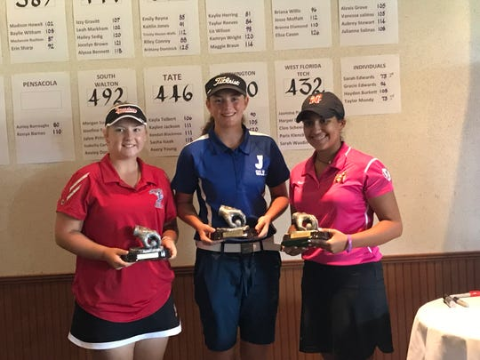 Jay High's Sarah Edwards, center, with Panama City Bay's Taylor Moody, left and Niceville's Paolo Rosario were top three finishers at FCA Girls High School Golf Tournament.