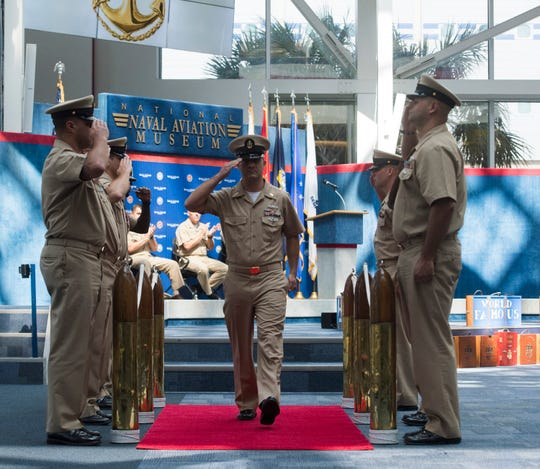Matthew Blalock gets his first recognition as a chief petty officer during a promotion ceremony Sept. 14 at the National Naval Aviation Museum.