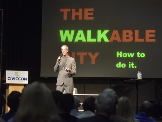 Jeff Speck, an urban planner and former director of design at the National Endowment for the Arts, discusses the importance of designing walkable cities during a CivicCon presentation Monday, Sept. 17, 2018, at the REX Theatre in downtown Pensacola.