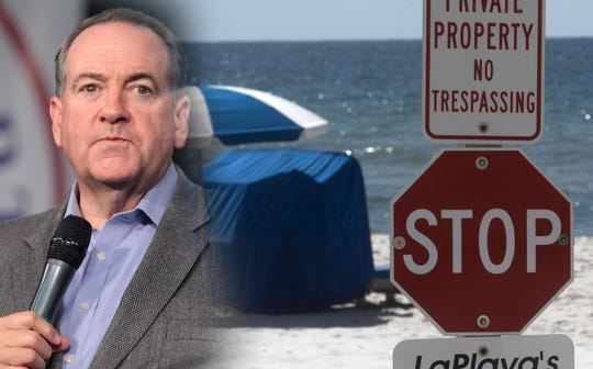 Former Arkansas Gov. Mike Huckabee has taken sides in a controversy over public beach access in Walton County.