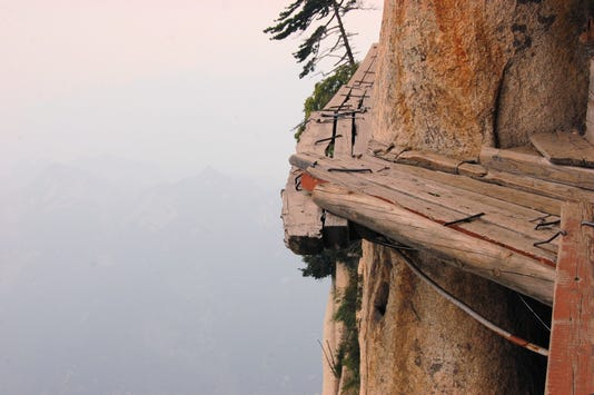 Dangerous Walkway At Top Of Holy Mount Hua Shan China
