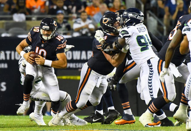 Bears quarterback Mitchell Trubisky (10) is sacked by the Seahawks during the second half of a game Monday at Soldier Field.