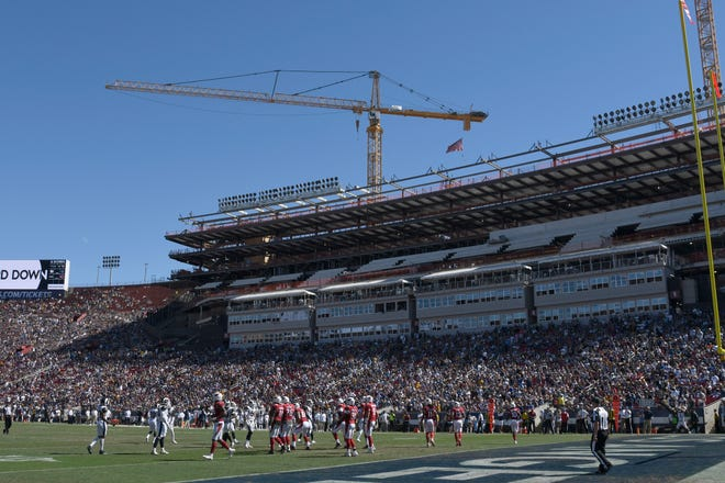 Los Angeles Rams and Arizona Cardinals play in an areana that is under renovation in the first half at Los Angeles Memorial Coliseum on September 16, 2018 in Los Angeles, California.
