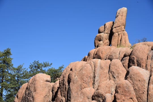 A closeup of the Easter Island sculpture look-alikes in Prescott's Granite Dells.