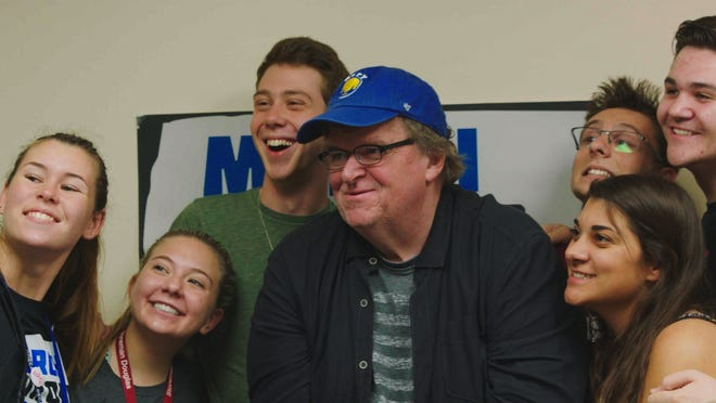 """Michael Moore meets with March of Our Lives demonstrators in """"Fahrenheit 11/9."""""""