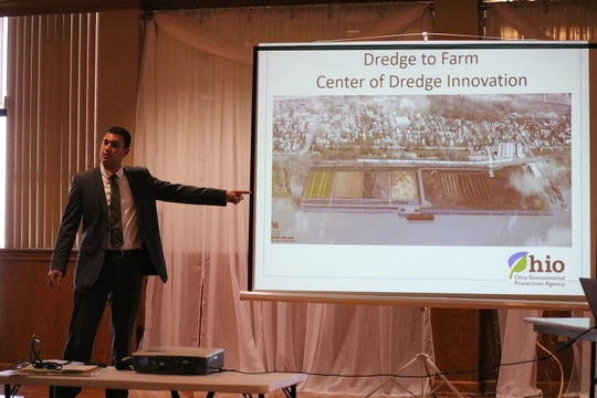 David Emerman, administrator of Ohio's dredged material program, discusses plans for the Great Lakes Dredged Material Center for Innovation facility along the Maumee River near Toledo during a meeting of the Ohio Lake Erie Commission on Tuesday.