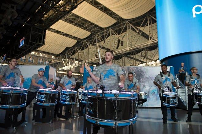 Matt Quaine plays the bass drum during the Detroit Lions vs. Cleveland Browns 2018 preseason game.