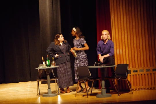 """Janelle Murray, left to right, Emily Foreman and Savion Hastings-Ward  are shown in a scene from a past production of """"24-Hour Plays"""" at Dutchess Community College. This year's event is Sept. 22-23."""