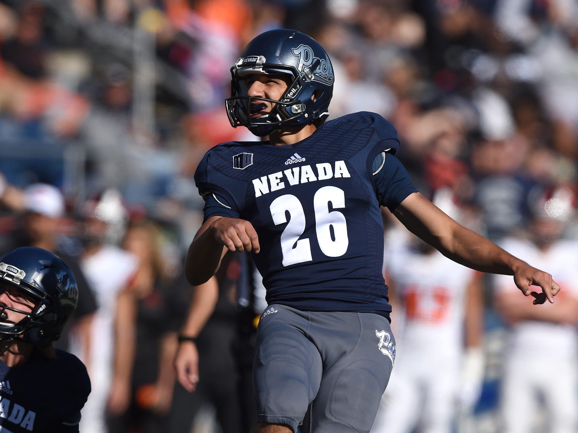 Nevada Ramiz Ahmed kick the ball against Oregon State at Mackay Stadium on Sept. 15, 2018.