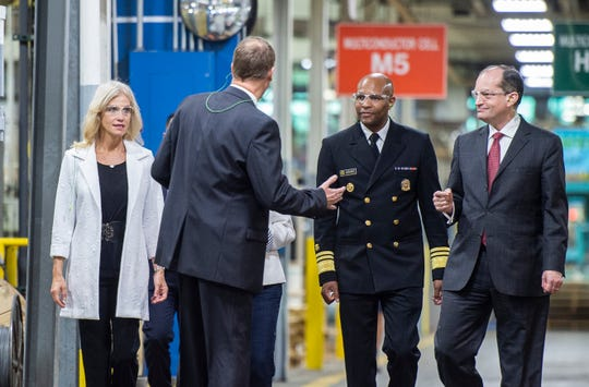 White House officials take a tour of Belden's wire and cable facility in Richmond, Ind. on Tuesday, Sept. 18, 2018.