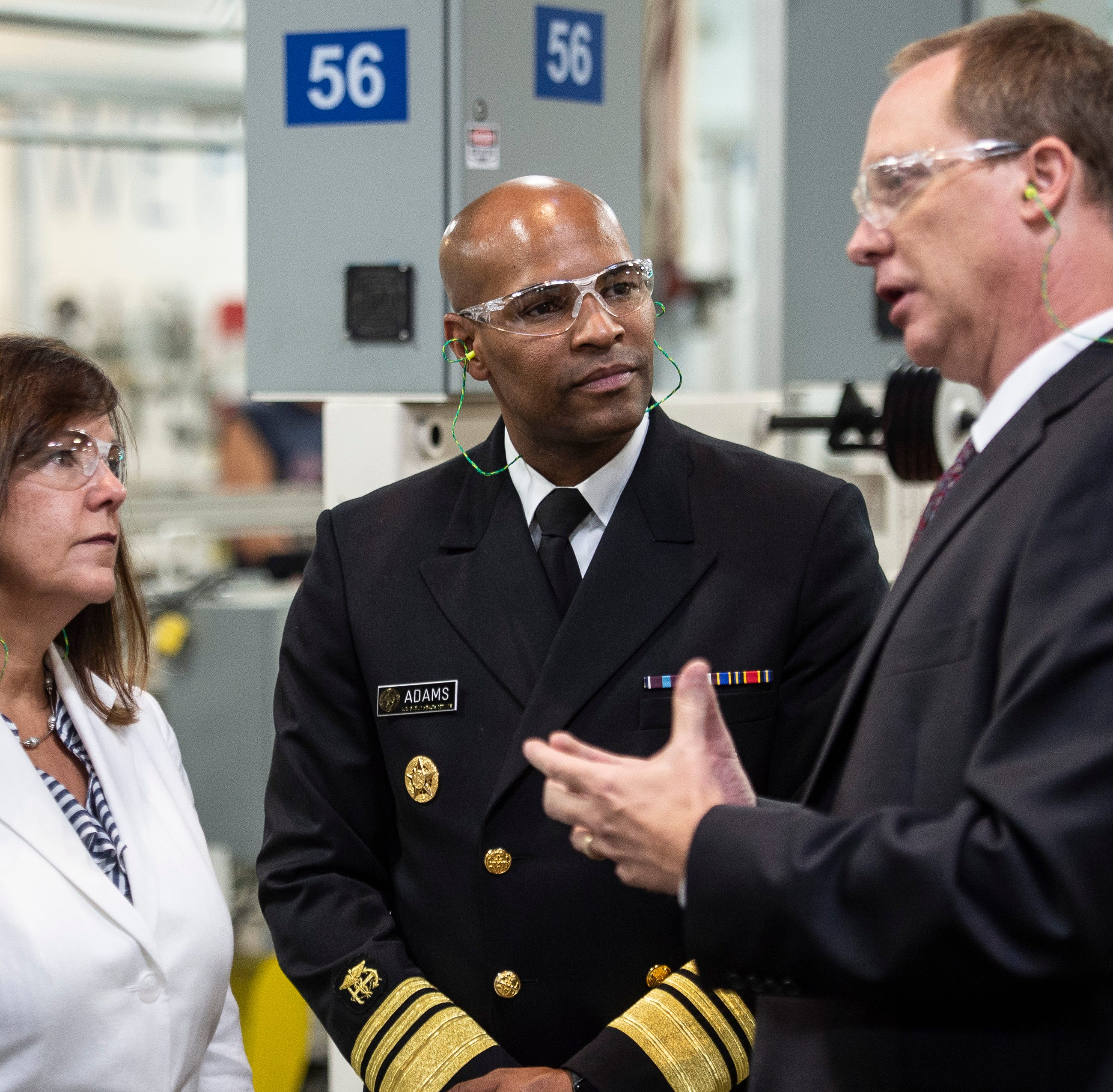 Labor Secretary Alexander Acosta and Second Lady Karen Pence and Surgeon General Dr. Jerome Adams listen to Belden plant manager David Hooper during a tour of the company's wire and cable facility on Tuesday, Sept. 18, 2018.