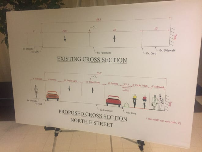 A sign outside Council Chambers on Monday night, Sept. 17, 2018, shows a concept drawing for a bike path to be added to North E Street from Fort Wayne Avenue to North 10th Street.