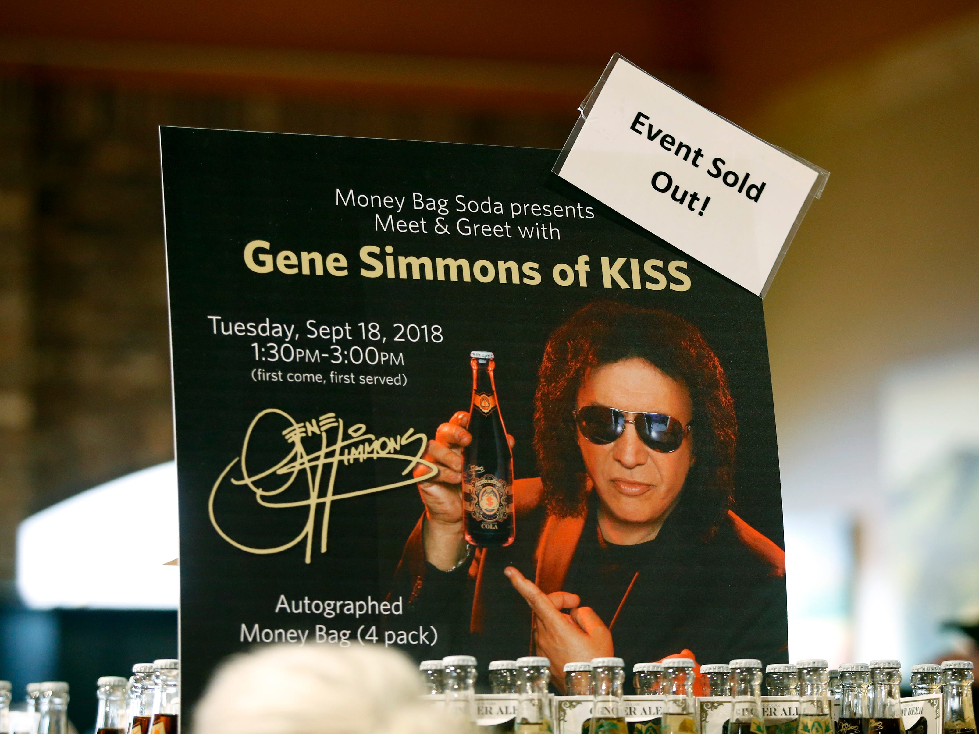 KISS co-founder Gene Simmons makes an appearance at the Chili-Paul Wegmans store to promote his MoneyBag Sodas.