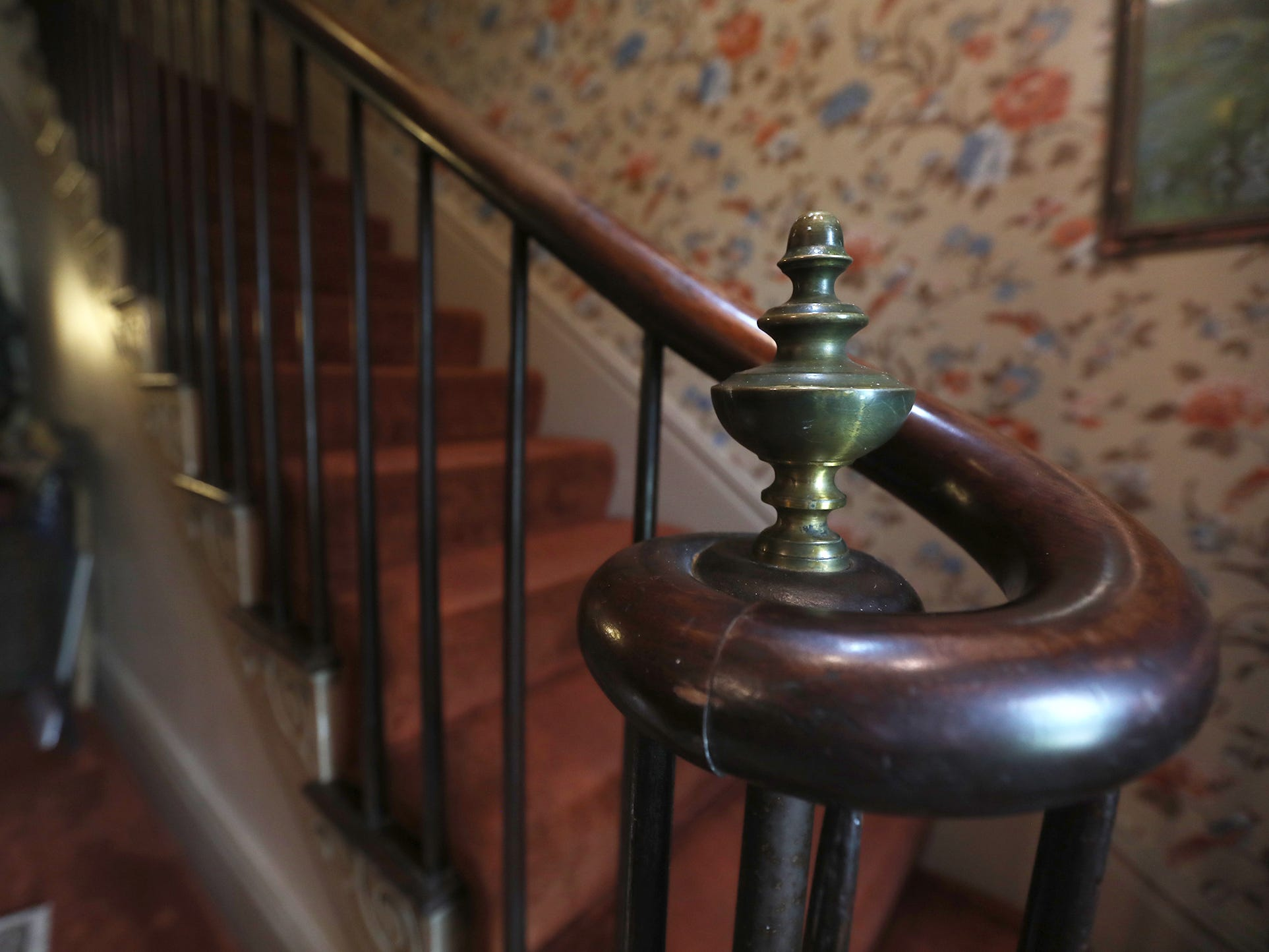 The staircase is made from mahogany.