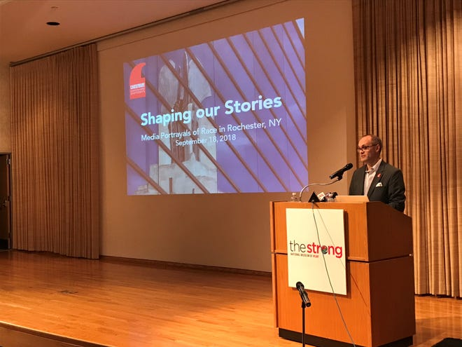 Todd Butler, president and CEO of Causewave Community Partners, presents the Shaping Our Stories report Sept. 18, 2018.