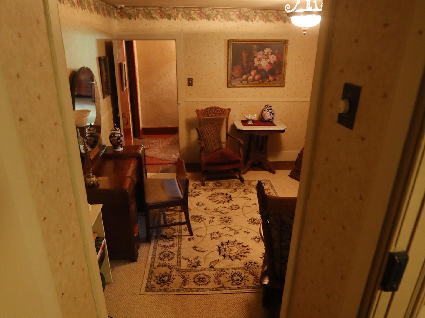Upstairs has four bedrooms, this room is situated between two staircases.