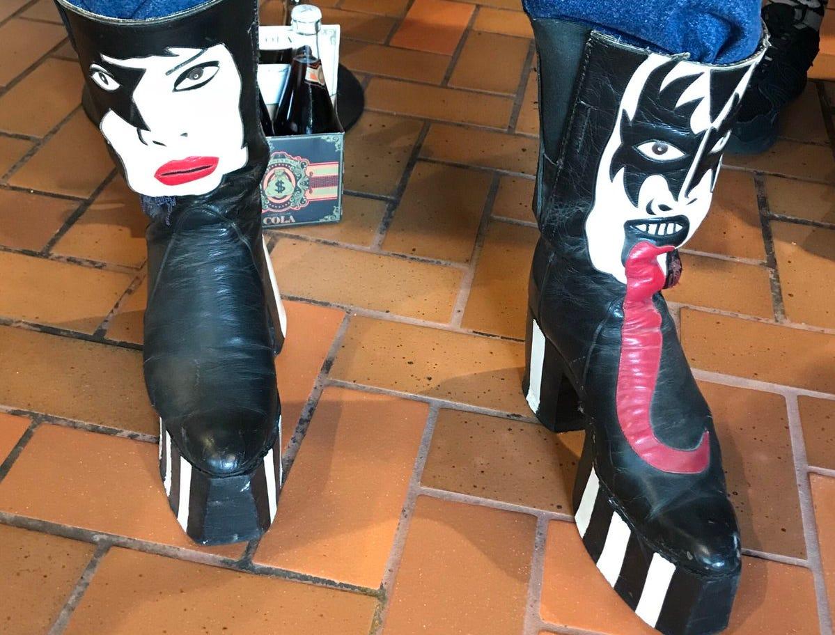 Simmons soda,Money Bag, sits behind KISS boots.
