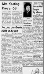 The Democrat and Chronicle's Page 3B on Sept. 18, 1968, includes a story about a liquor theft as well as stories about Vice President Hubert H. Humphrey's campaign visit to Rochester. He then was the Democratic presidential candidate.