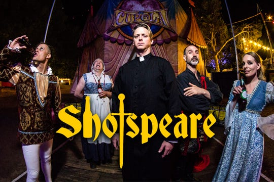 Shotspeare — a comedic Shakespeare show with a dose of alcohol — premieres at the 2018 Rochester Fringe at 9:15 p.m., Sept. 19 in in the Spiegeltent.