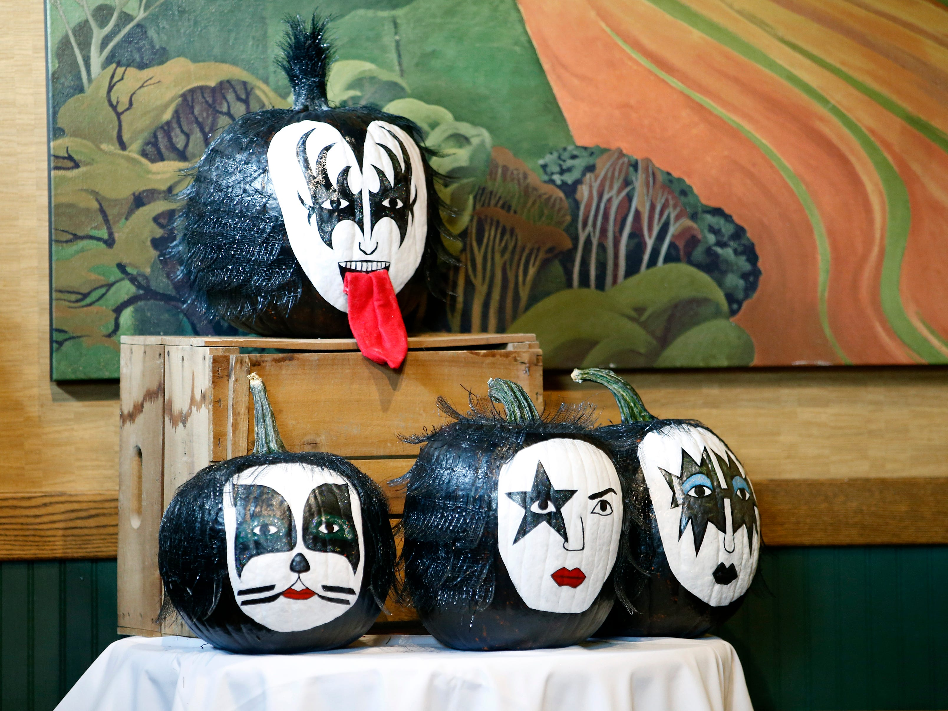 A pumpkin display was setup for an appearance by KISS co-founder Gene Simmons at the Chili-Paul Wegmans store to promote his MoneyBag Sodas.