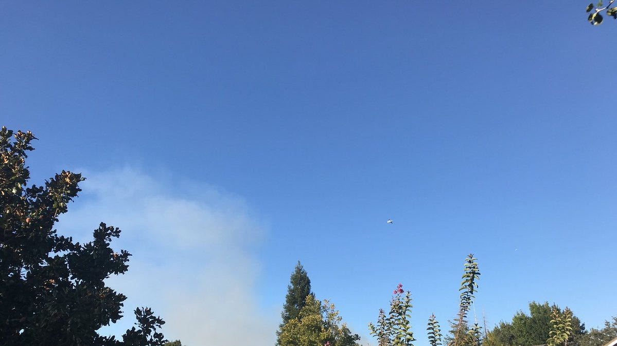 View of vegetation fire that broke out Monday in Shasta Lake, looking north from Windsor Estates.