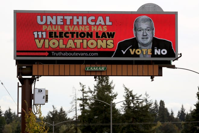 A negative billboard advertisement against Rep. Paul Evans, D-Monmouth, on Commercial St. SE near Vista Ave. SE in Salem on Monday, Sep. 17, 2018.