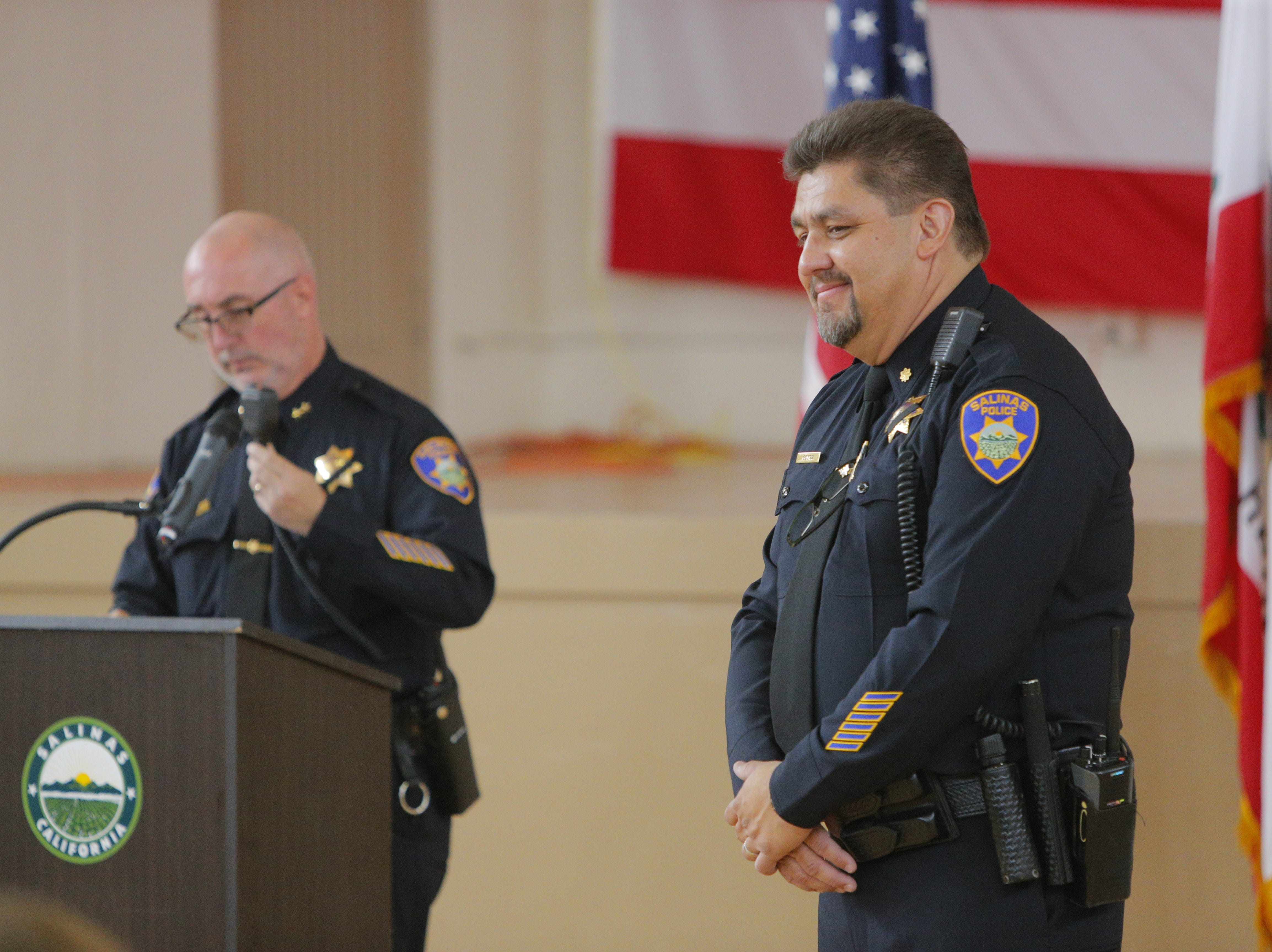 At the end of the ceremony honoring retiring Salinas police Cmdr. Henry Gomez, dispatchers announced his retirement over the radio Tuesday.