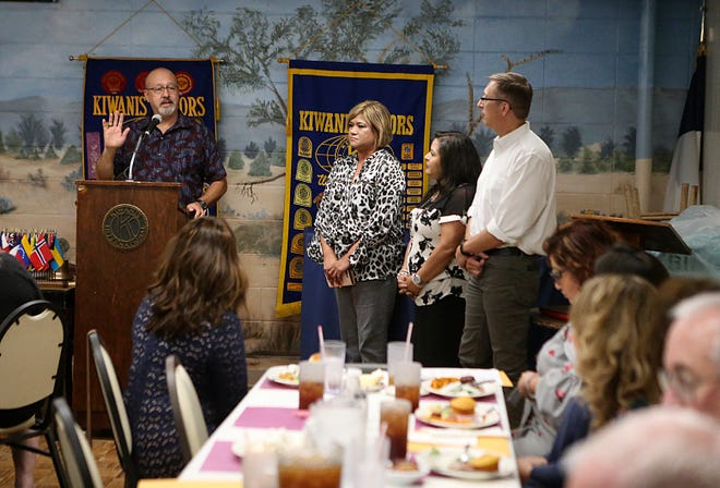 Kevin Reynolds with the House of Faith talks before members and other grant recipients at the San Angelo Downtown Kiwanis Club distribution day Tuesday, Sept. 18, 2018.0