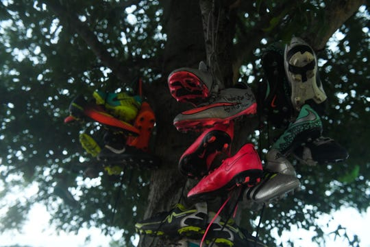 The Mardela Middle and High School Boy's soccer team has placed their soccer cleats with messages to their head coach Steve Ray who unexpectedly passed away in May of this year.