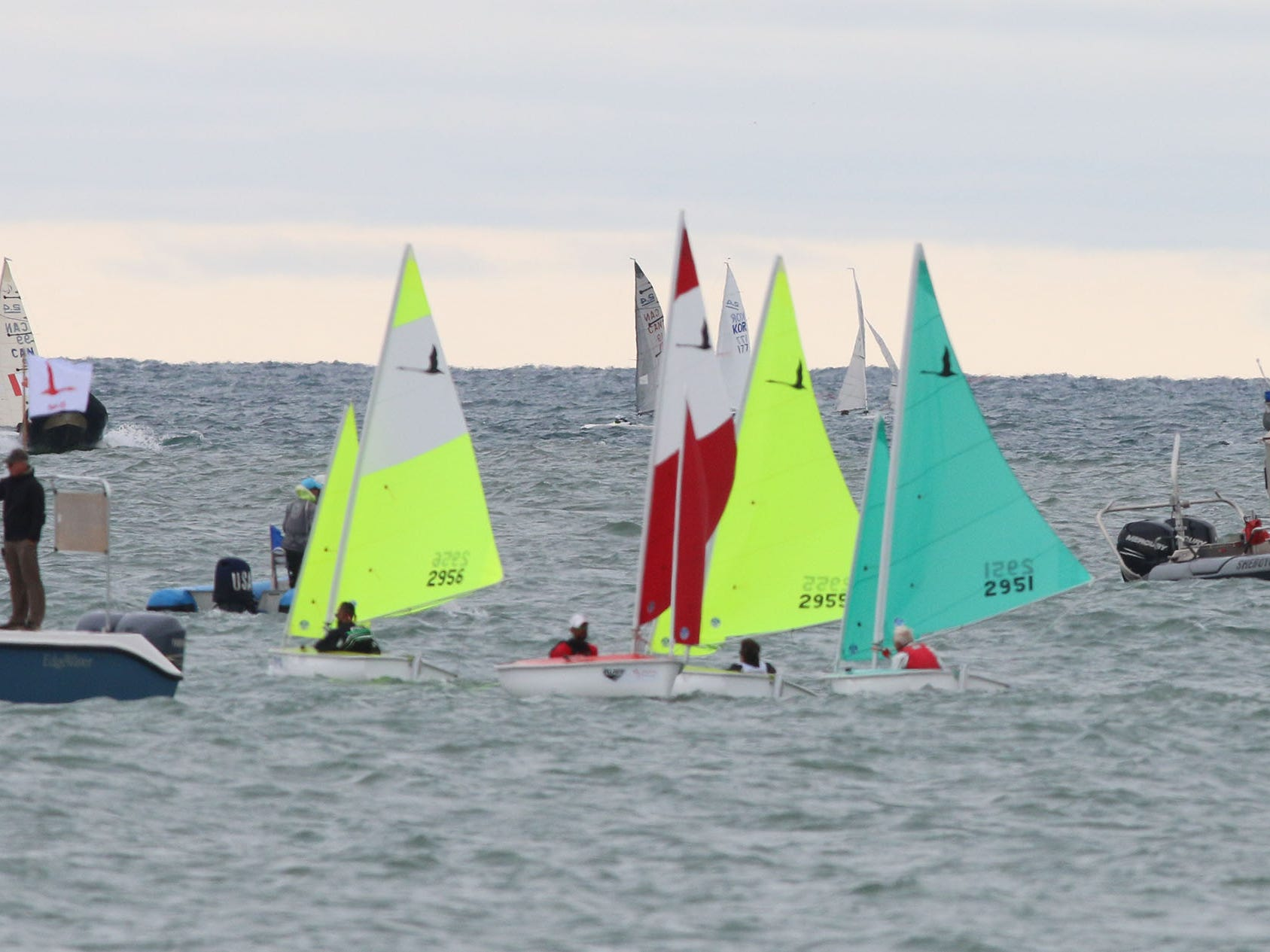 Hansa 303 sailboats provide plenty of color out on the lakefront at the Para World Sailing Championships, Tuesday, September 18, 2018, in Sheboygan, Wis.
