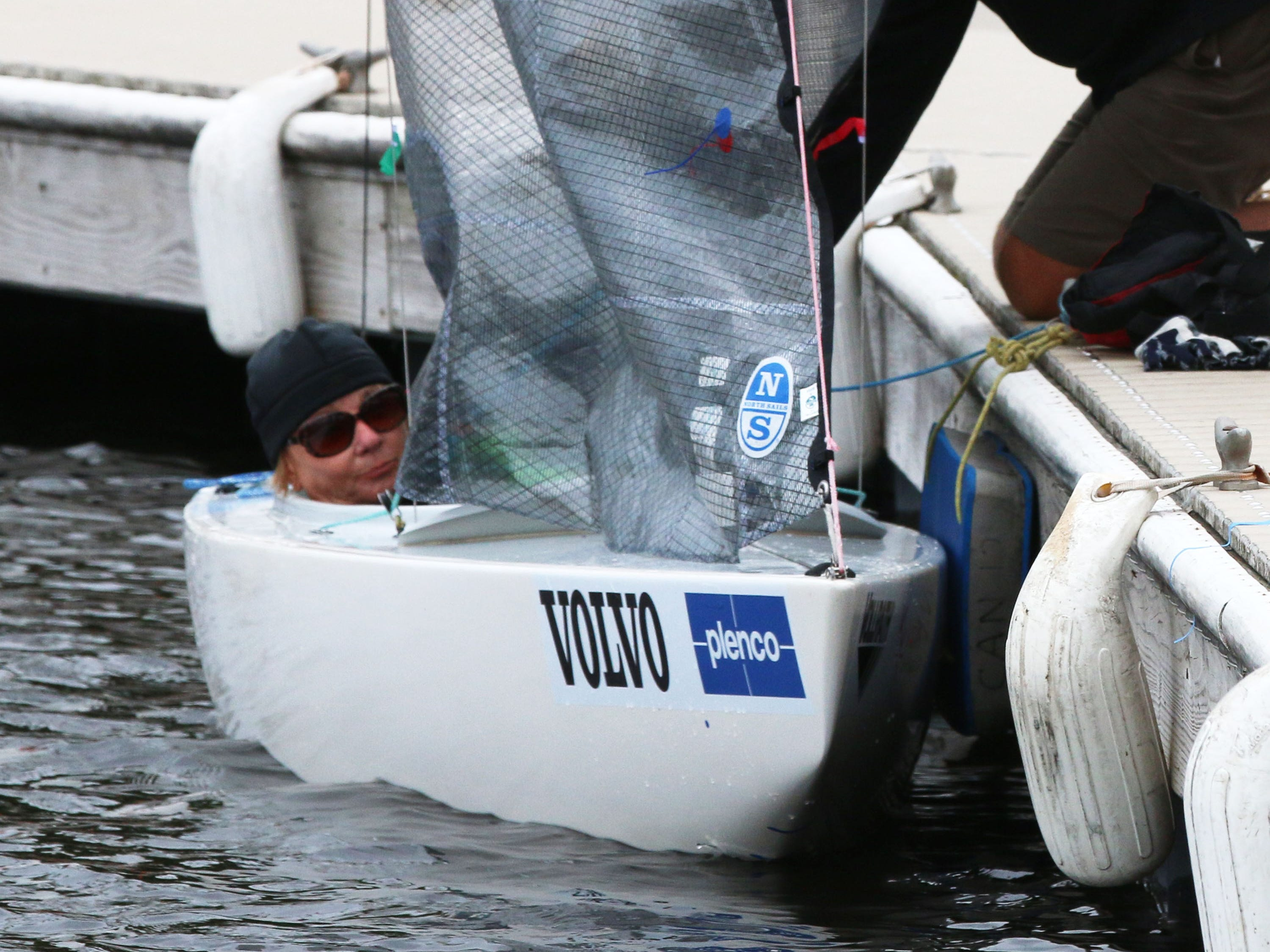 Christine Laballee of Gatineau, Quebec, Canada, waits while being secured in her sail boat at the Para World Sailing Championships, Tuesday, September 18, 2018, in Sheboygan, Wis.