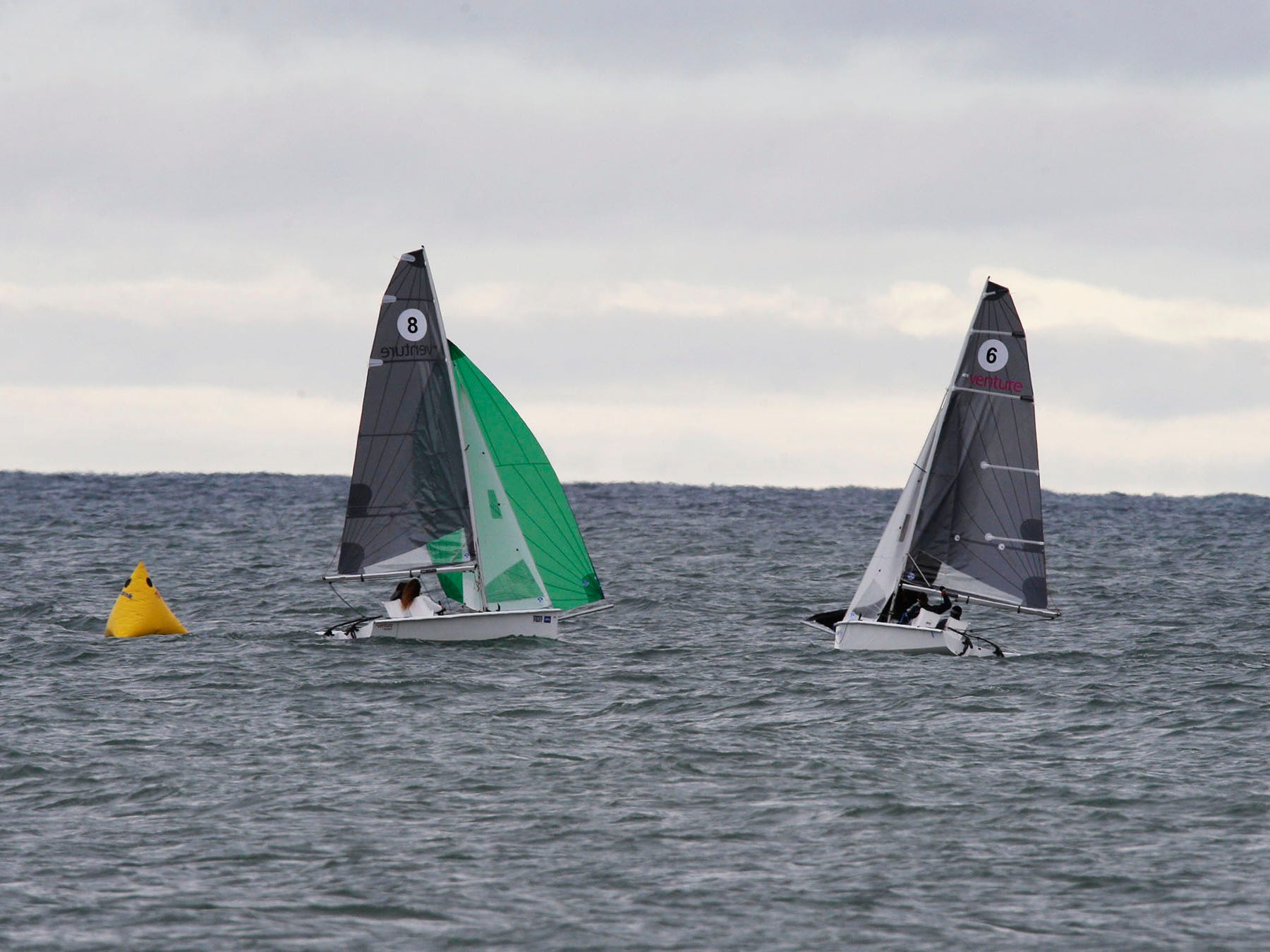 RS Ventures boats compete during the Para World Sailing Championships, Tuesday, September 18, 2018, in Sheboygan, Wis.