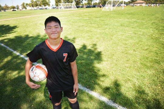 Kim Ueng during a game with the Washington High School soccer team Saturday, Sept 15, at Yankton Trail Park in Sioux Falls.