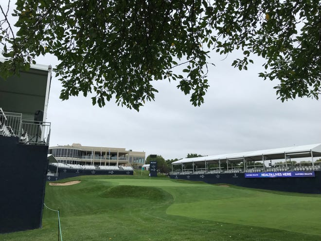 Grandstands set up around the 18th green at the Sanford International Presented by Cambria, a PGA TOUR Champions tournament in Sioux Falls this week.