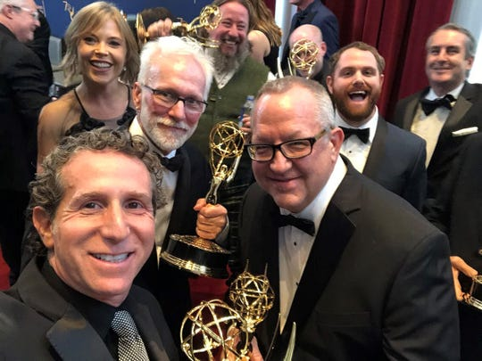 Springfield native Joe Bauer (right) is pictured last weekend after he and his visual effect team won an Emmy for their work on Game of Thrones. It was Bauer's fifth time to win the award.