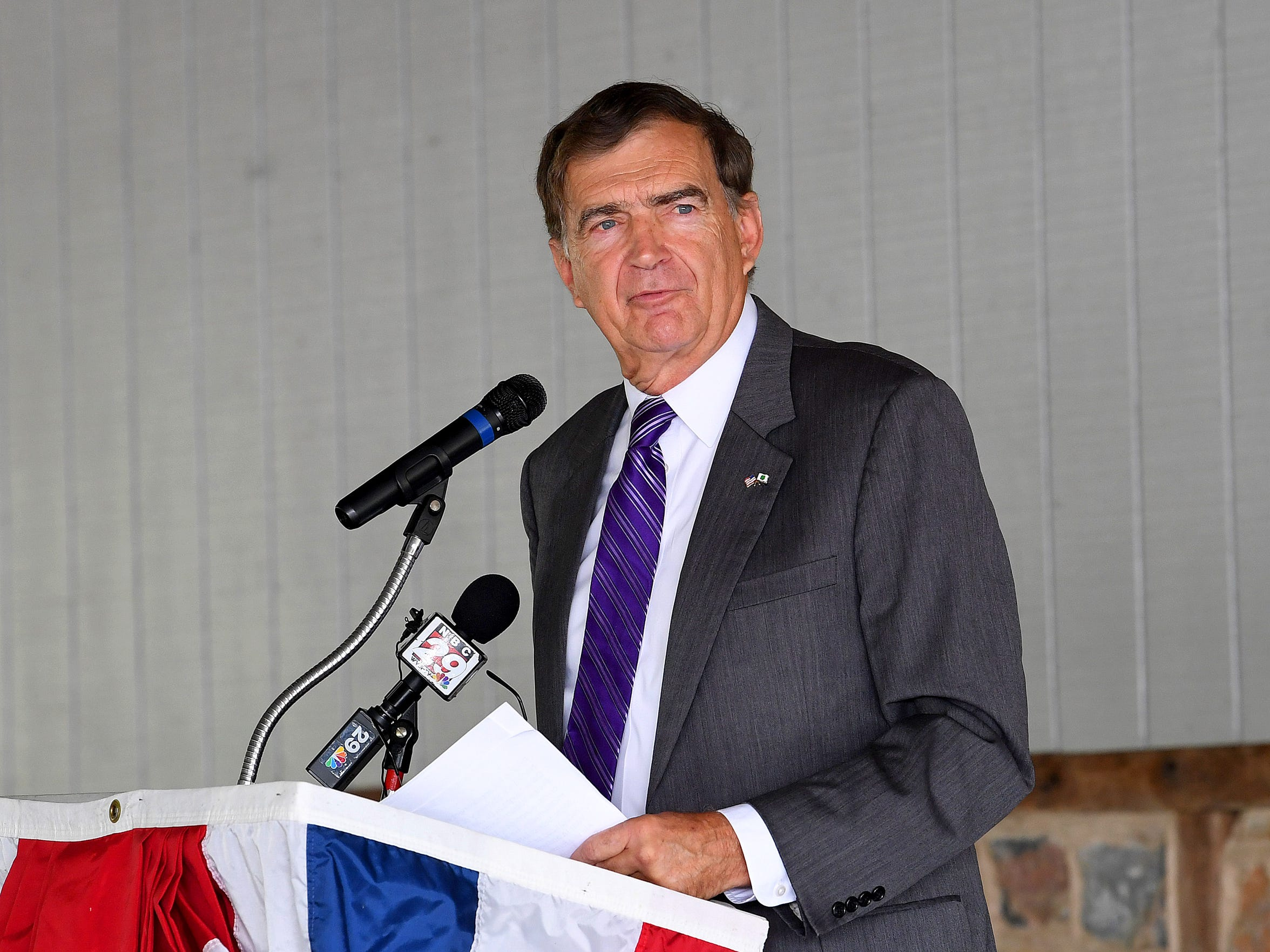 A member of the Virginia joint subcommittee to study mental health services in the 21st century, Sen. Emmett W. Hanger Jr., R-Augusta, addresses those gathered for a naturalization ceremony at Frontier Culture Museum on Sept. 18, 2018 in Staunton.