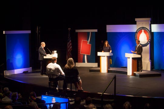 Shireen Ghorbani and Chris Stewart debate in St. George Monday, Sept. 17, 2018.