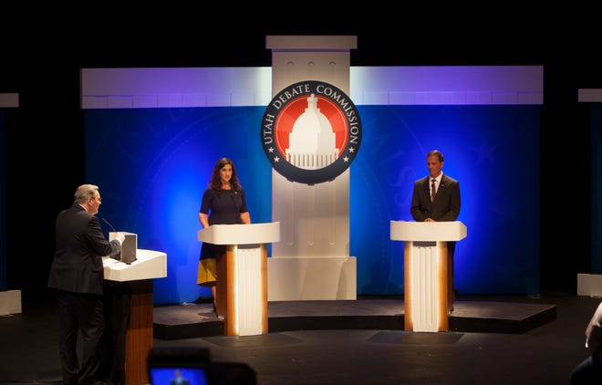 Democrat Shireen Ghorbani and Republican Rep. Chris Stewart debate on the Dixie State University campus in St. George on Sept. 17, 2018.