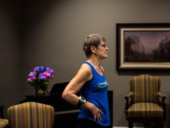 Betty Lou Sweeney works out at Forever Fit, a gym in Plover, Wis., and runs fitness classes for the elderly at the Brookdale assisted living home.