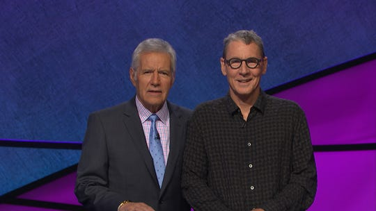 "Bucky McMahon, right, meets host Alex Trebek on the set of ""Jeopardy!"""