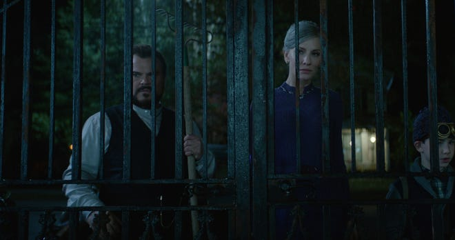 """Jack Black, left, and Cate Blanchett keep the watch in """"The House With a Clock in Its Wall,"""" opening Friday."""