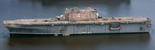 The USS Nassau, a decommissioned Navy amphibious assault ship now based in Beaumont, Texas.