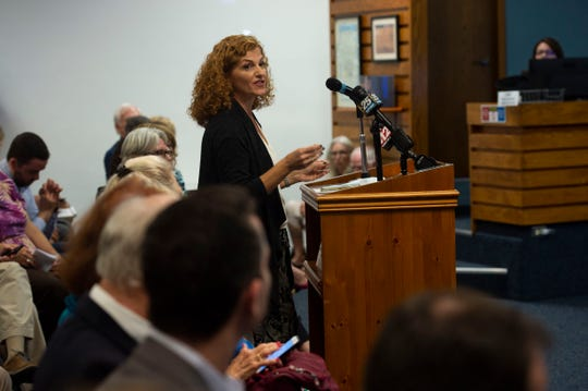 """""""If we get a Brightline station, I would never have to drive to an airport again,"""" said Kimberly Izzolo, of Palm City, in a case for a Stuart Brightline station during a workshop with the city commissioners Monday, Sept. 17, 2018 at city hall in Stuart."""