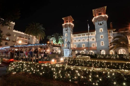 A trolley tour during Nights of Lights in St. Augustine.