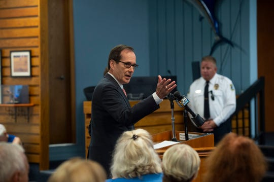Rusty Roberts, Brightline vice president of government affairs, speaks during a workshop discussing a Brightline station Monday, Sept. 17, 2018 at city hall in Stuart. Mayor Kelli Glass Leighton said the event was not a formal meeting, but simply a workshop for the benefit of the public. She suspected action will be taken during the first meeting in October.