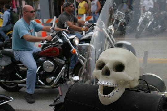 A skull decorates a bike along  Main Street on Oct. 21, 2007, during the last day of Biketoberfest in Daytona Beach.