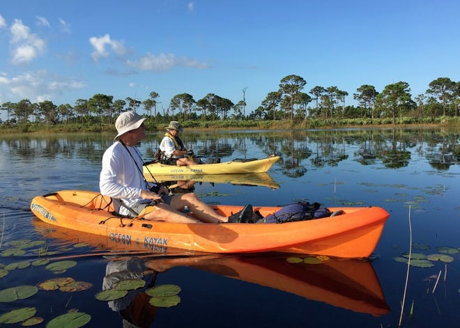 Take a guided kayak tour.  Cost is $10 per person donation to the Friends of Savannas, plus the state park admission fee ($3 per vehicle).  All equipment is included with your donation.