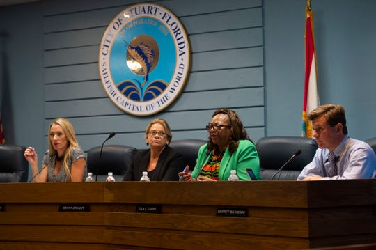 City of Stuart commissioners (from left) Kelli Glass Leighton, Becky Bruner, Eula Clarke, and Merritt Matheson question Kevin Freeman, development director for the city of Stuart and Kim DeLaney, director of strategic development for the Treasure Coast Regional Planning Counsel, during a workshop Sept. 17, 2018, discussing a Brightline station in Stuart.