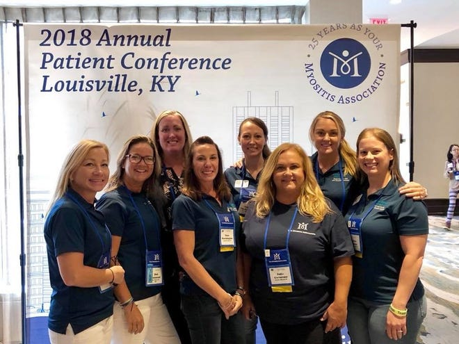 Team Tommy's volunteer board of directors at the conference were, from left, back row: Laurie Ann Boyer, Michelle Leckenbush, Jes Courtemanche; and front row: Laura Pfundstein, Deb Pizzimenti, Dana Worthington, Jodie Certosimo, Danielle Gajewski.